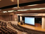 presentation room with projector screen