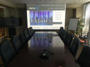 Large projector screen in conference room