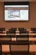 classroom with projector screen