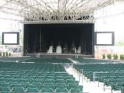 amphitheater stage with seats and electric equipment