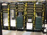 yellow and black server rack