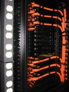 server rack with outlets and network cabling