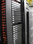 front of server rack with trays