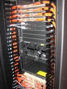 orange cables in server rack